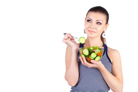 happy healthy woman: happy healthy woman with salad Stock Photo