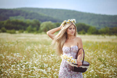 Attractive blonde in chamomile field  Young woman in wreath surrounded by chamomiles Stock Photo