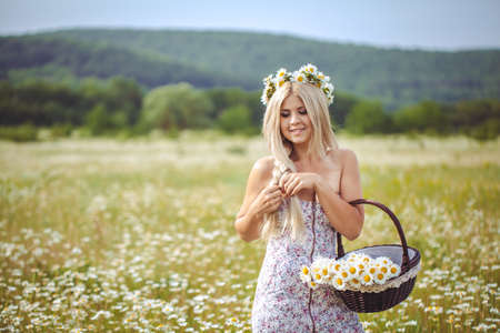 blondie: Attractive blonde in chamomile field  Young woman in wreath surrounded by chamomiles Stock Photo