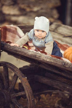 Cute little kid having enjoying countryside  Outdoor photo