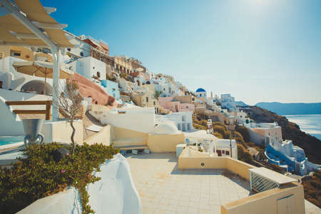View to the sea and Volcano from Fira the capital of Santorini island in Greece photo