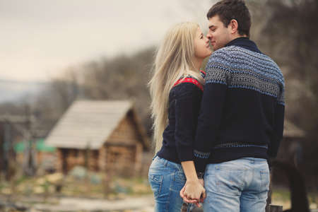 portrait of Young couple in love having fun together outdoor photo