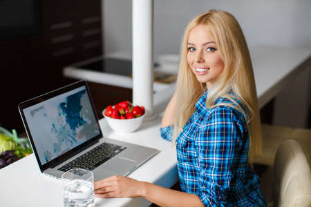 Smiling young woman sitting with laptop in modern kitchen with bowl strawberry photo