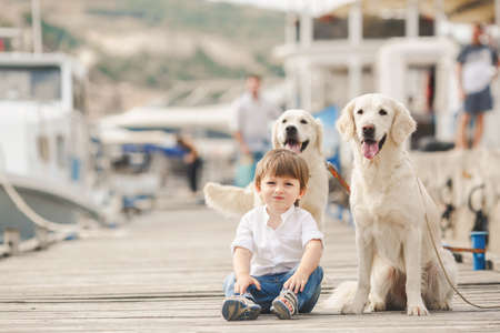 Happy baby boy with him dog on berth in summer photo