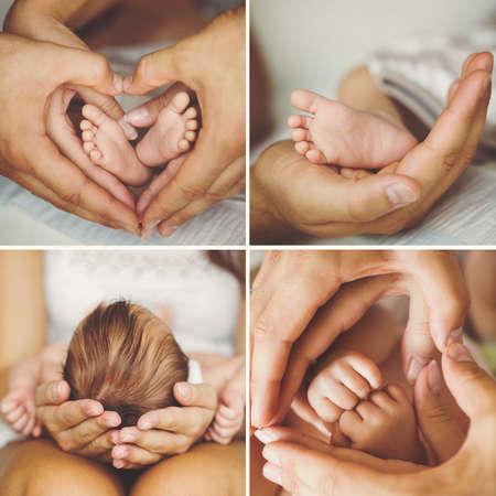 Matka drží hlavu svého novorozeného syna v rukou. Dítě na ruce na mámu. Milující matka ruka roztomilý spící novorozeně dítě