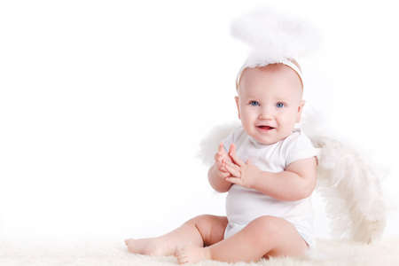 nimbus: Cute infant baby with angel wings and nimbus isolated on white