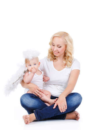baby angel: Beautiful woman with a baby angel