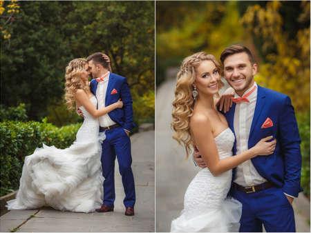 Collage van het huwelijk - de bruid en bruidegom in het park in de zomer. Collage van foto's bruiloft - de bruidegom, een jonge donkerharige man in een blauw trouwpak en roze stropdas - vlinder, blauwe ogen bruid - krulhaar blonde met lang haar in een witte trouwjurk,