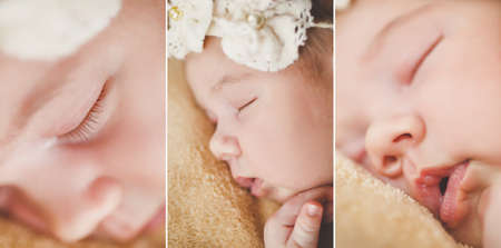 Cute newborn baby boy sleeping on a soft blanket beige color on the forehead of the child-the sleep mask is made in the form of white flowers with bead in the middle of the flower and the soft white rubber band around the head. Stock Photo