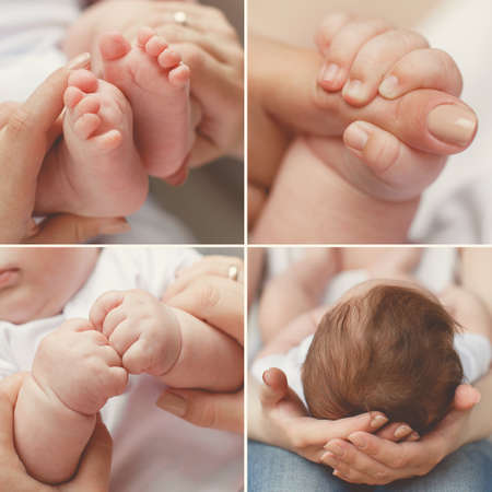 dearness: Close-up of babys hands and feet collage. Mother holding baby. Babys feet. collage newborn. baby in moms hands Stock Photo