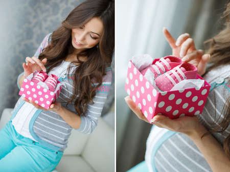thick hair: Collage beautiful young pregnant woman, brunette with long thick hair, wearing a gray striped sweater and turquoise pants, on the right-hand engagement ring, holding a pink box with white polka dots with pink booties in it