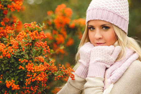 head scarf: Beautiful young woman with long blonde straight hair, light makeup, wearing a light sweater, pink scarf and gloves, on his head wearing a pink and white knitted cap, spends time outdoors in the Park in the middle of autumn near bushes of ripe red Rowan Stock Photo