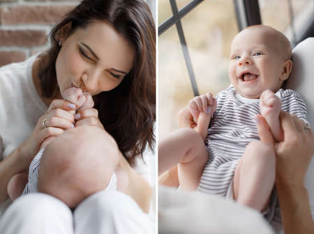 thick hair: A collage of two photos, a young mother, brunette with long thick hair, is dressed in white pants and a white t-shirt, doing exercises her newborn son, the baby is dressed in a white tee shirt and panties with black stripes, mother kissing the baby pens