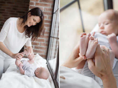 thick hair: A collage of two photos, a young mother, brunette with long thick hair, is dressed in white pants and a white t-shirt, doing exercises her newborn son, the baby is dressed in a white tee shirt and panties with black stripes, mother holding babys feet