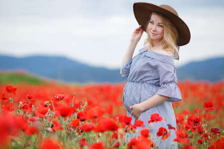 Fashionable Pregnancy mom in red poppies spring summer Reklamní fotografie