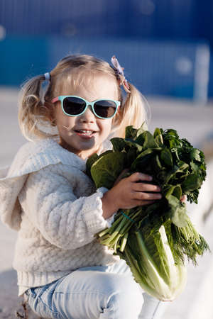 A little girl of three years old in a grocery store or supermarket chooses fresh organic cabbage. Healthy food for a young family with children. Fresh green Peking cabbage in the hands of a small buyer. A child with a cabbage head on the street.