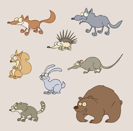 herbivore: Vector illustration of animals - fox, wolf, bear, hedgehog, rat, squirrel, hare, racoon  Illustration