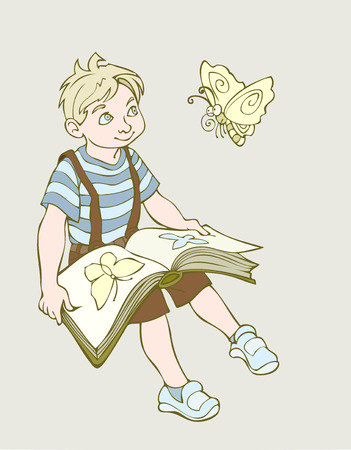 according: An illustration of a boy watching butterflies trying to determine their kind according to the book
