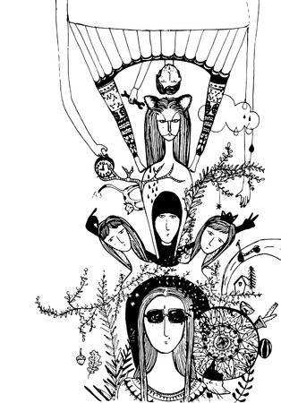 etapas de vida: Ilustraci�n gran historia de una ni�a y sus etapas de vida