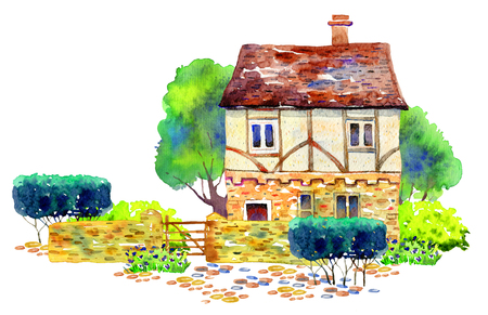 Scene with old stone English village house, fence, bushes, trees and plants. Hand drawn watercolor illustration on white background