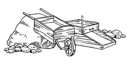 Illustration vectorielle de la ruée vers l'or en Californie. Graphique de contour vintage dessiné à la main avec boîte à bascule et brouette noir sur fond blanc Vecteurs
