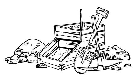 Illustration vectorielle de la ruée vers l'or en Californie. Graphique de contour vintage dessiné à la main avec boîte à bascule, pioche et pelle noir sur fond blanc