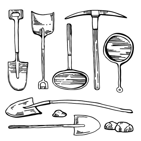 Mining and digging tools. Vector hand drawn vintage outline graphic set of historic shovels, pick and pans isolated on white background