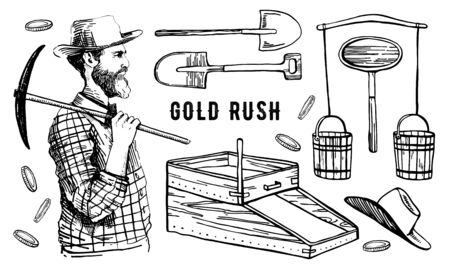 California gold rush vector hand drawn outline vintage illustration set with miner and tools isolated on white background