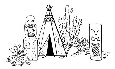Native American traditional settlements. Tipi, totem poles and cactuses. Vector hand drawn outline doodle sketch illustration black on white background