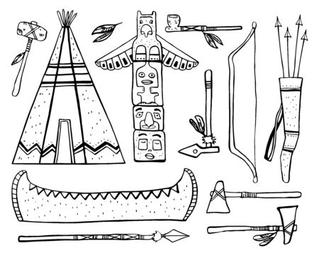 Native American traditional objects. Wigwam, totem pole, canoe, weapons. Vector hand drawn outline sketch illustration set black on white background