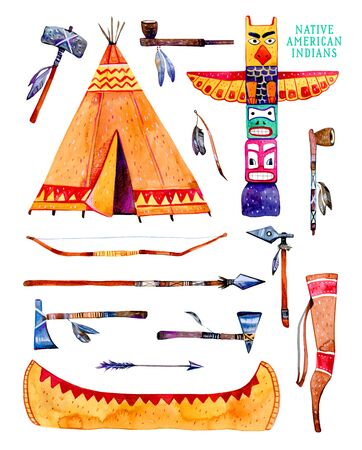 Native American indians traditional objects. Wigwam, totem pole, canoe, weapons. Hand drawn watercolor illustration set isolated on white background