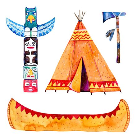 Native American indians traditional objects. Wigwam, totem pole, canoe, tomahawk. Hand drawn watercolor illustration set isolated on white background Stock Photo