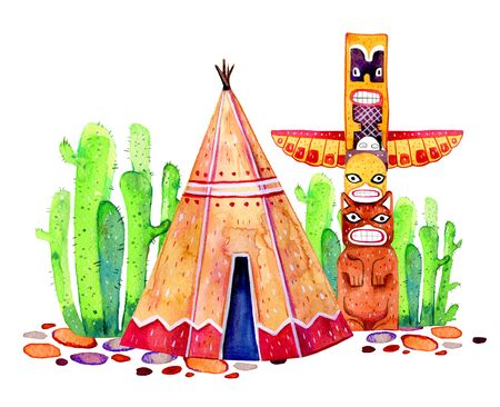 Native American tradition settlement. Tipi, totem pole and cactuses. Hand drawn watercolor illustration on white background Stock Photo