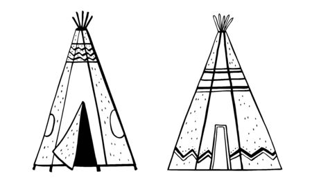 Native American indians traditional tipies. Two wigwams. Vector hand drawn outline doodle sketch illustration black on white background Stock Photo