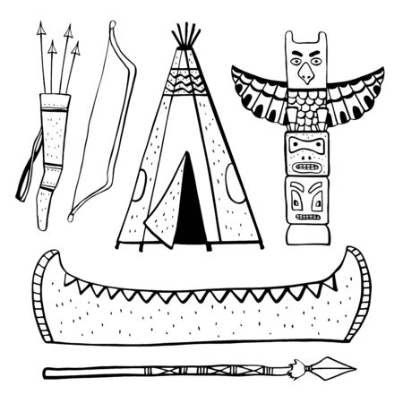Native American indians traditional objects. Wigwam, totem pole, canoe. Vector hand drawn outline sketch illustration set black on white background