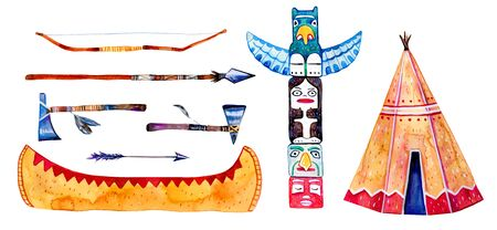 Native American indians traditional settlement objects. Wigwam, totem pole, canoe, weapons. Hand drawn watercolor illustration set isolated on white background Stock Photo