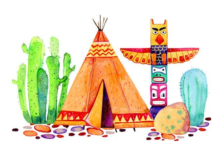 Native American village. Tipi, totem pole and cactuses. Hand drawn watercolor illustration on white background Stock Photo
