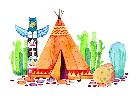 Native American Indians village. Teepee, totem pole and cactuses. Hand drawn watercolor illustration on white background Stock Photo