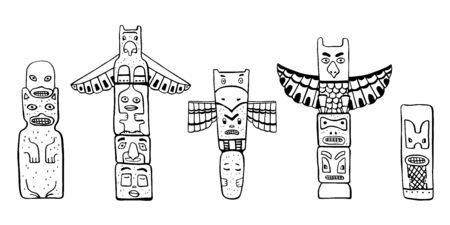 Native American traditional totem poles. Vector outline Hand drawn doodle sketch illustration set. Group of four carved wooden figures black on white background Stock Photo