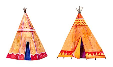 Two Native American tipis. Stylized hand drawn watercolor illustration set isolated on white background Stock Photo