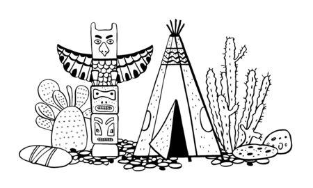 Native American indians  traditional settlement. Tipi, totem pole and cactuses. Vector hand drawn outline doodle sketch illustration black on white background