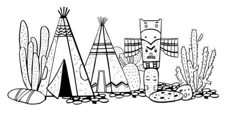Native American indians traditional village. Two wigwams, totem pole and cactuses. Vector hand drawn outline doodle sketch illustration black on white background Stock Photo