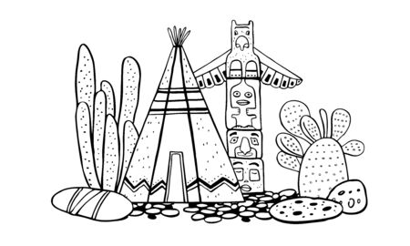 Native American traditional village. Tipi, totem pole and cactuses. Vector hand drawn outline doodle sketch illustration black on white background