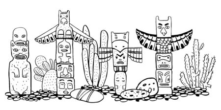 Native American traditional totem poles  and catuses. Vector outline Hand drawn doodle sketch illustration. Group of four carved wooden figures black on white background Stock Photo