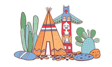 Native American traditional village. Tipi, totem pole and cactuses. Vector color hand drawn outline doodle sketch illustration on white background