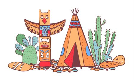Native American indians  traditional settlement. Tipi, totem pole and cactuses. Vector color hand colordrawn outline doodle sketch illustration on white background