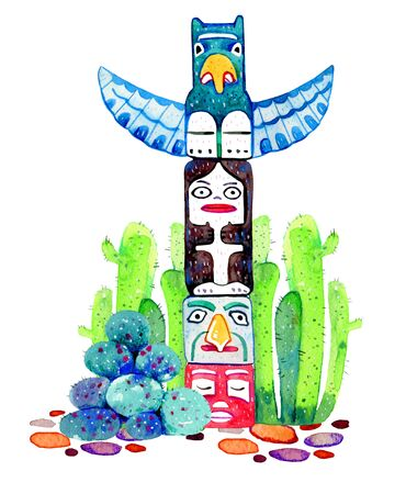 Native American indians traditional totem pole with cactuses on the background. Hand drawn watercolor illustration on white background