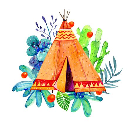 Native American tipi with cactuses and plants. Stylized hand drawn watercolor illustration on white background