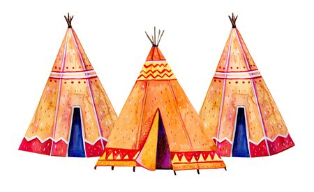 Three Native American tipis. Stylized hand drawn watercolor illustration on white background Stock Photo