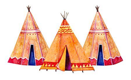 Three Native American tipis. Stylized hand drawn watercolor illustration on white background Reklamní fotografie